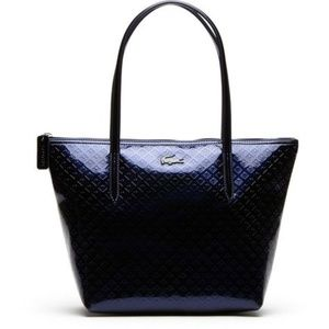 NWT Lacoste Black Leather 12.12 Concept Shiny Tote